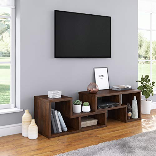 Adjustable Moveable Low Profile Shelves TV Stand Console, Home Entertainment Center, Living Room TV Stand, 2-Piece Set, Walnut Brown Finish