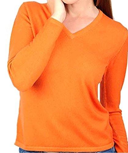 Balldiri 100% Cashmere Kaschmir Damen Pullover 2-fädig V-Ausschnitt orange S