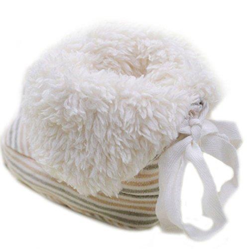 Millya bebé invierno caliente primer Walking zapatos de algodón para bebé suave suela botas de nieve verde Green Striped Talla:16*12cm Green Striped