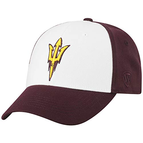 (Top of the World NCAA-Premium Collection Two Tone-One-Fit-Memory Fit-Hat Cap- Arizona State Sun)
