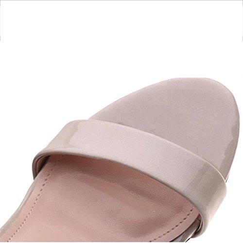 W&LM Sra Tacones altos Sandalias Zapatos de la boca de los pescados Correa Tacones altos De acuerdo Zapato Pink