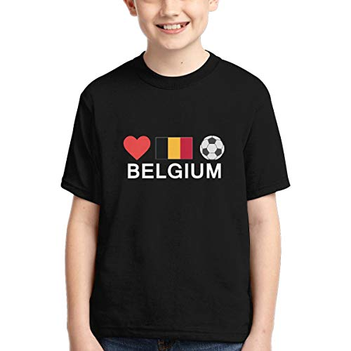 Vy32jg-2 Short-Sleeve Belgium Football Belgium Soccer T-Shirts for Boys, Casual Sweatshirt, XS-XL