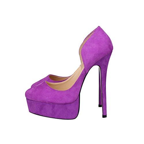 fereshte Men's Women's Crossdresser Drag Queen Closed Toe Slip On Platform Stiletto High Heels Party Pumps Purple DZX50WfdL