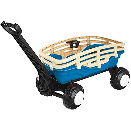 American Plastic Toys Deluxe Runabout Stake Wagon with Cup Holders, Blue/Tan