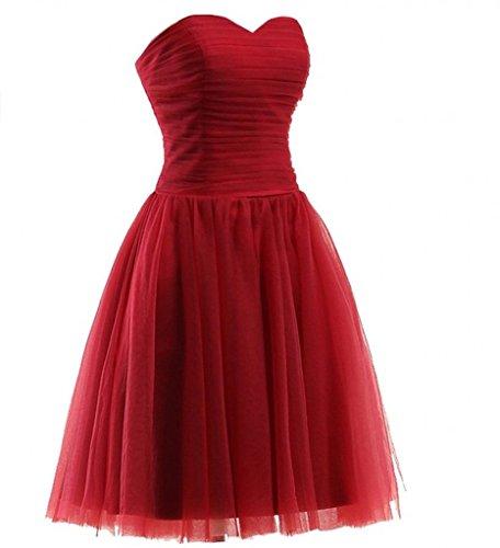 Partykleider linie Brautjungfernkleider A Abendkleider Rock Dunkel Traegerlos Kurz Milano Herzausschnitt Bride Rot Einfach qw4Yzz1X