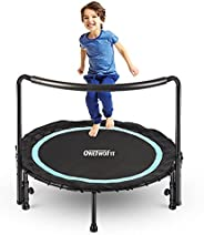 OneTwoFit 36 Inch Mini Trampoline for Kids,with Adjustable Handle Bar and Extend Jump Pad,Silent Bungee Reboun