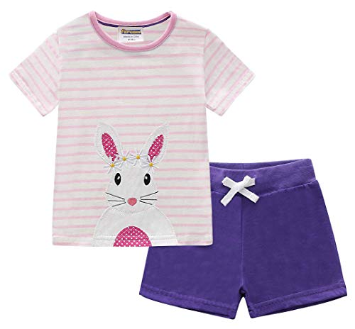 (Fiream Girls Cotton Clothing Sets Easter Bunny T-Shirts Shorts 2 Pieces Clothing Sets(JP113,3T/3-4YRS))