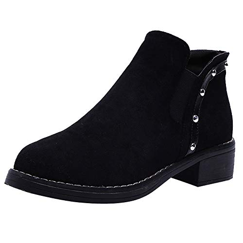ZYEE Women Rivets Flat Shoes, Clearance Sale! Ladies Fashion Martain Boots Suede Ankle Boots Round Toe Shoes
