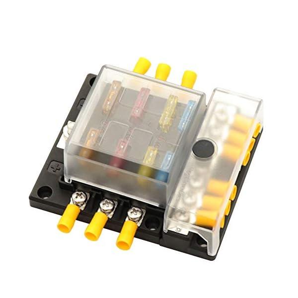 41Vj0K4Na6L 6 Sicherungshalter mit Minuspol Auto KFZ Sicherungskasten für Boot Solaranlage Sicherungsverteiler Wohnmobil Motorrad…