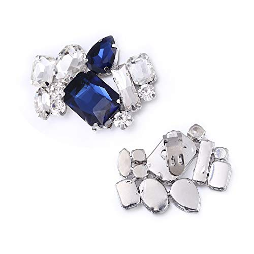 (Jewelry Shoe Clips, Lucky Goddness 2 Pieces Small Blue Elegant Rhinestone Brooch for Wedding Women High Heel,Girl's Pumps)