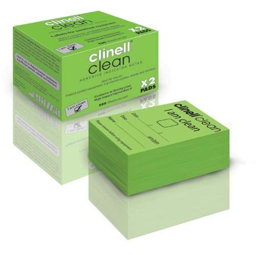 500 Notepads - Clinell Indicator Note Pad, 500 Plastic Notes - Pack of 2 by Clinell