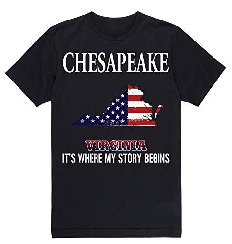 Independence Day Shirt - Chesapeake Virginia VA It's Where My Story Begins Black]()