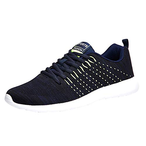 - LUCAMORE Unisex Couple Breathable Casual Sports Sneakers Lace-Up Athletic Running Shoes Blue