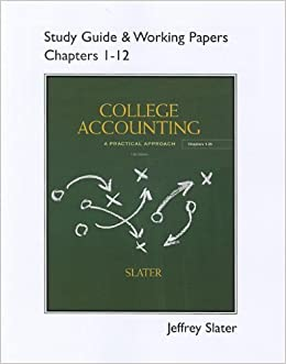 Book Study Guide & Working Papers for College Accounting Chapters 1-12 by Jeffrey Slater (2012-01-21)