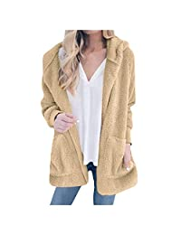 VEZAD Store Autumn and Winter New Solid Color Plush Hooded Cardigan Fashion Pocket Wool Coat