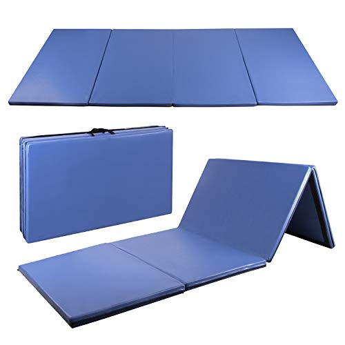 CharaVector 4′ x 10′ x 2″ Folding Gymnastics Mat for Gym Exercise Tumbling Yoga Pilates Aerobics MMA Martial Arts, with Hook & Loop Fasteners Blue