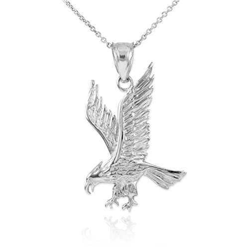 Fine 925 Sterling Silver Eagle Landing Pendant Necklace, 18