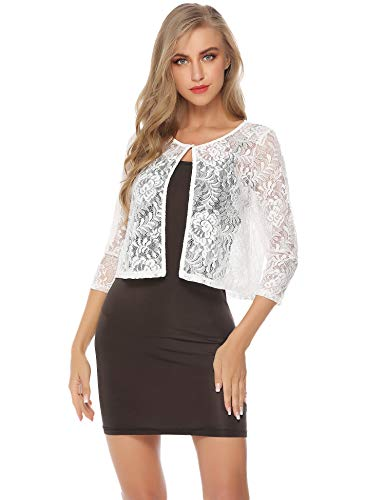 Abollria Women's Lace Shrug Sheer Cropped Bolero Cardigan Jacket -