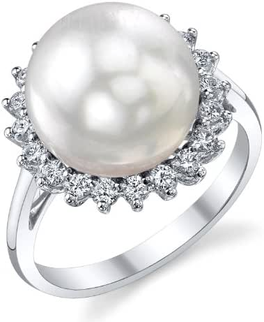 12mm White South Sea Cultured Pearl & Diamond Sage Ring in 18K Gold