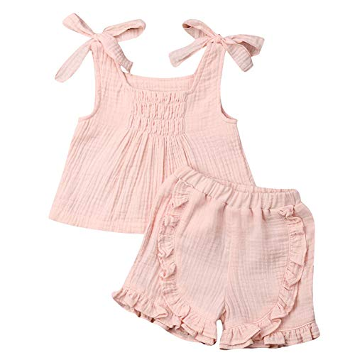 Baby Girls Cotton Linen Blend Straps Top and Bubble Shorts Ruffle Outfit Set (4T, Pink)