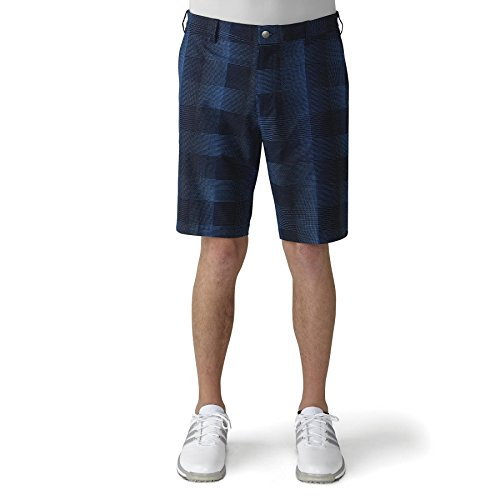 adidas Golf Men's Ultimate Competition Plaid Shorts, Black/EQT Blue S, 30