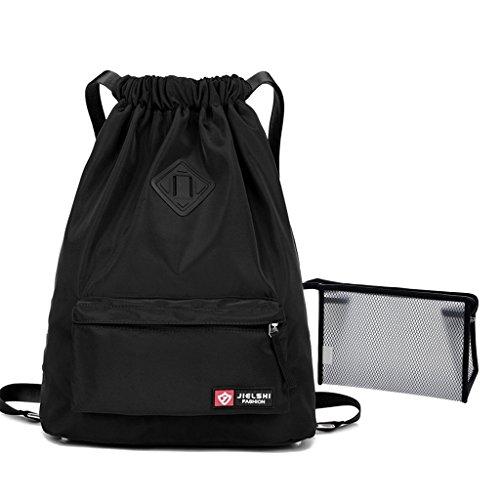 Unisex Drawstring Bag Waterproof String Bag Backpack Lightweight Sports Sackpack Gym Sack Cinch Bag with Pocket for Yoga Swim Travel + Small Toilet Bag (Black) by Gupiar