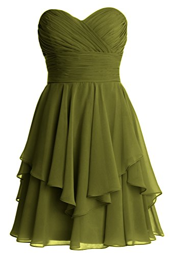 MACloth Women Short Wedding Party Bridesmaid Dress Strapless Tiered Cocktail Verde Oliva