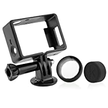 CamKix Frame Mount for GoPro Hero 4, 3+, and 3 / USB, HDMI, and SD Slots Fully Accessible – Light and Compact Housing for Your Action Camera - Includes 1 Large Thumbscrew / 1 Tripod Mount / 1 Rubber Lens Cap / 1 UV Filter Lens Protector