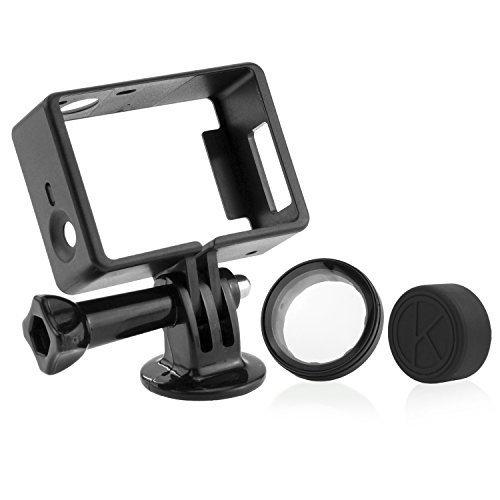 CamKix Halterung für GoPro Hero 4 Rahmen , 3+ und 3 / USB , HDMI und SD- Slots voll zugänglich - Licht und kompaktes Gehäuse für Ihre Kamera - Inklusive 1 Large Thumbscrew / 1 Stativgewinde / 1 Rubber Lens Cap / 1 UV- Filter Objektiv-Schutz
