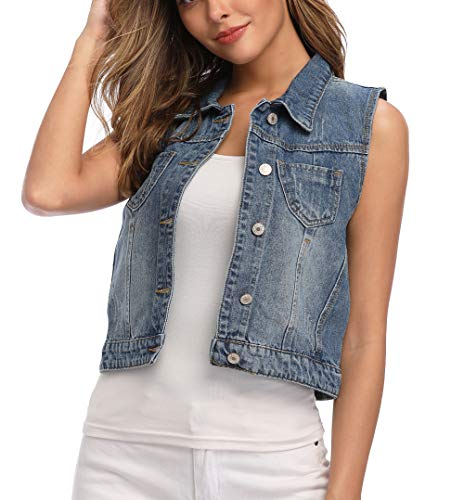 Wudodo Womens Classic Denim Vest Button Up Sleeveless Cropped Distressed Jean Jacket w Chest Pockets