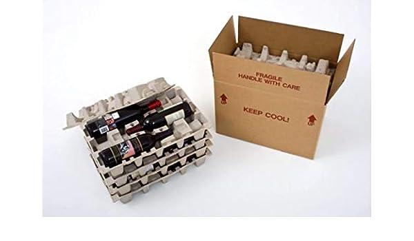 Caja de transporte para botellas de vino con bandeja protectora (12 unidades): Amazon.es: Oficina y papelería