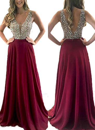 Chiffon Red Prom Dresses V-Neck Crystal Sexy Evening Dress Backless Evening Formal Bridesmaid Dresses
