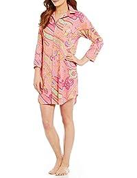 Lauren Womens Roll Cuff Sleeved Paisley Woven Sleepshirt Small