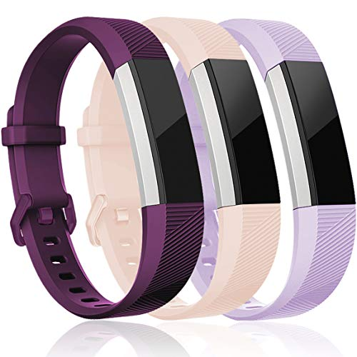 Maledan Replacement Bands Compatible for Fitbit Alta, Alta HR and Fitbit Ace, Classic Accessories Band Sport Strap for Fitbit Alta HR/Alta/Ace, 3-Pack, Plum/Blush Pink/Lavender, Small