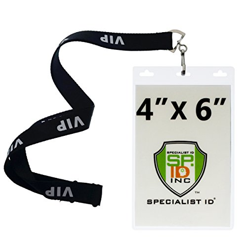 4X6 Inch Extra Large Badge & Credential Holders (Pack of 10) with Lanyards For Special Events by Specialist ID (Black VIP) for $<!--$16.99-->