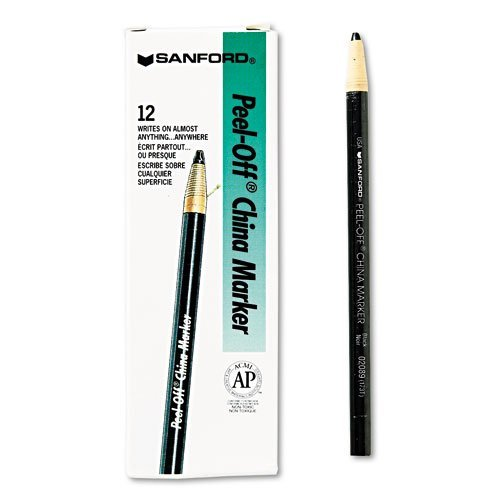 (Sharpie Products - Sharpie - Peel-Off China Markers, Black, Dozen - Sold As 1 Dozen - Marks on porous and nonporous materials. - Moisture- and fade-resistant. - Pull string and peel down to freshen tip. - Erasable with a damp cloth. -)
