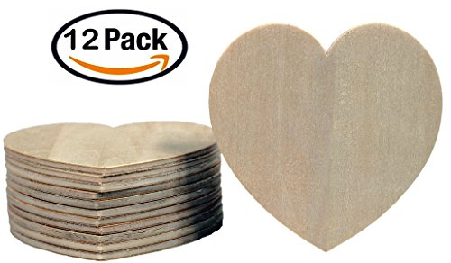 Wood Shape Cut Out (Creative Hobbies Unfinished Wood Heart Cutout Shapes, Ready to Paint or Decorate, 3.5 Inch Wide, Pack of 12)