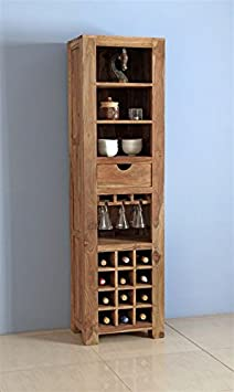 Kingwood Bar Cabinet with Bottle Storage & Single Drawer with Shelf in Sheesham Wood with Teak Finish (Natural Finish)
