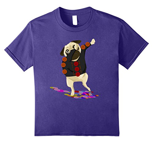 Kids Dabbing Button Day Pug Funny Dog Puppy Lover Tshirt 8 Purple (Pug Button)