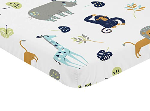 Sweet Jojo Designs Turquiose and Navy Blue Safari Animal Baby Fitted Mini Portable Crib Sheet for Mod Jungle Collection - Zoo Crib Bedding Collection