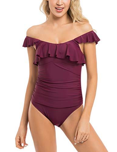 coastal rose Women's One Piece Swimsuit Flounce Flutter Monokini Shirred Swimsuit Off Shoulder Bathing Suit Ruffle Bikini Wine Red US16