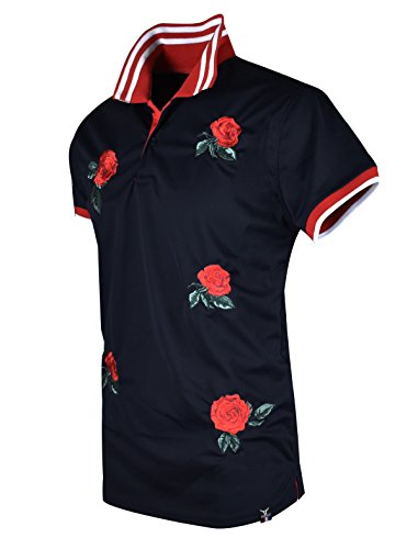 SCREENSHOTBRAND-S11815 Mens Hipster Hip-Hop Premium Tees - Stylish Fashion Rose Flower Embroidery Polo T-Shirt - Black-Medium by SCREENSHOT