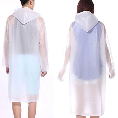 Fengh extrieur impermable pour adulte Translucide impermable Poncho-white