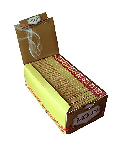 Burning Rolling Papers (MOON (60 Booklets of 40 Sheets,2400 Total Papers) Unbleached Slow Burning Pure Hemp Rolling Paper Cigarette Paper (78mm))