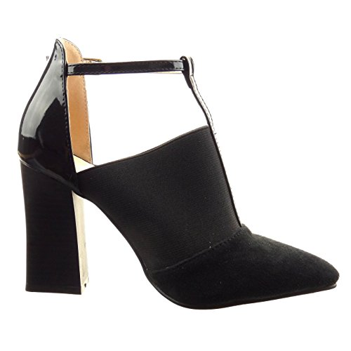 Sopily - Scarpe da Moda scarpe decollete sandali cinturino bi-materiale alla caviglia donna lucide verniciato Tacco a blocco tacco alto 9.5 CM - Nero