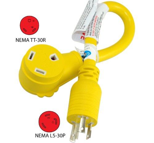 Conntek RL14825 RV Generator Adapter 1.5-Feet for Model L5-30P 30-Amp 125-volt Locking Plug to RV 30-Amp Female Connector