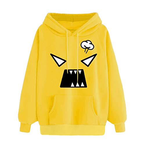 Gold Mini Soccer Jersey - Clearance! Seaintheson Women Hoodies Tops, Autumn Emoticon Print Hooded Long Sleeve Sweatshirt with Pocket Blouse