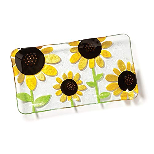 (DEMDACO Silvestri Glass Fusion Sunflower Platter, 8 by 15-Inch)