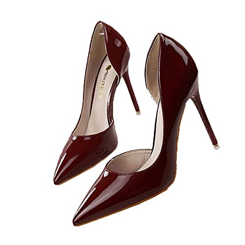 Msanlixian Summer Women Pumps Fashion Patent Leather Pointed High Heel Shoes Shallow Pointed Sexy Thin High-Heeled Shoes OL G638-5 Wine Red 8