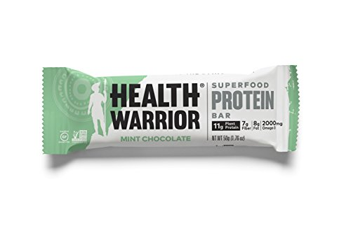 HEALTH WARRIOR Superfood Protein Bars, Mint Chocolate, Plant-Based Protein, 50g bars, 12 count (Warriors Mint)